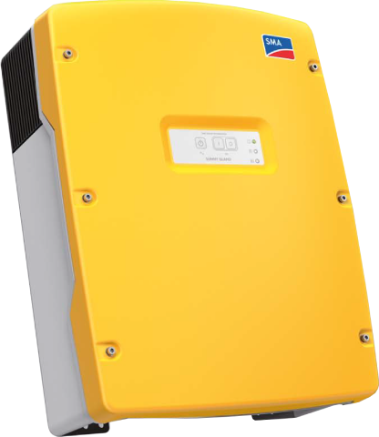 yellow battery inverter with blue and white SMA logo on it