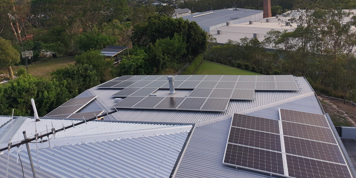 Solar panels on a residential rooftop